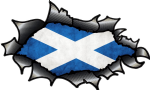 Ripped Torn Carbon Fibre Fiber Design With Scottish Saltire Flag Motif Vinyl Car Sticker 150x90mm